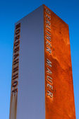 BERLIN - MARCH 5: Berlin Wall Memorial. Pillar at Wall Memoria — Stockfoto