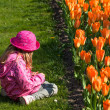 Girl with tulips — Stock Photo