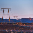 Stock Photo: Mountains at sunrise with electric and telephone cables (Iceland