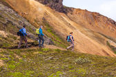 Hikers in Landmannalaugar — Стоковое фото