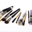 Stock Photo: Arrangement of assorted cosmetics brushes