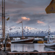 Stock Photo: Boats anchored at Husavik harbor on Iceland