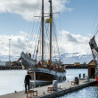 Stock Photo: Whale-watching boat enters Husavik harbor on Iceland