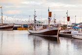 Whale-watching schooners in Husavik harbor on Iceland — Stock Photo