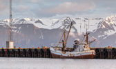 Fishing boat and trawler in Husavik harbor in Iceland — Stock Photo