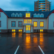 Stock Photo: Brightly lit building on street in Iceland
