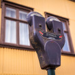 Stock Photo: Dual parking meter in Iceland