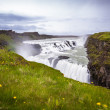 Stock Photo: Gullfoss waterfall flowing into gorge in Iceland