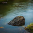 Rock in a tranquil pond or lake — Stock Photo