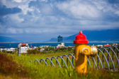 Colourful rural red and yellow fire hydrant — Stock Photo