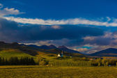Quaint rural church in rolling hills in Iceland — Stock Photo