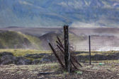 Old broken down dilapidated fence in Iceland — Stok fotoğraf
