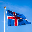 Icelandic flag fluttering in the breeze — Stock Photo
