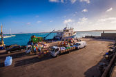 Cargo in a harbor on Cape Verde — Foto Stock