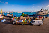 Cargo in a harbor on Cape Verde — Stock Photo