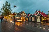 Evening street scene in Reykjavik, Iceland — Stock Photo