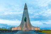 Night view of Hallgrimskirkja church, Reykjavich — Zdjęcie stockowe