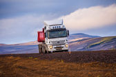Transport truck on the road in Iceland — Stock Photo
