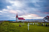 Rural church and graveyard in Iceland — Stock Photo