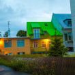 Brightly lit building on a street in Reykjavik — Stock Photo #40321337