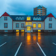 Brightly lit building on a street in Reykjavik — Stock Photo #40321351