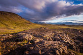Exposed ridge of igneous basalt rock in Iceland — Stock Photo