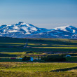 Farms in Iceland below snow-capped mountains — Stok fotoğraf