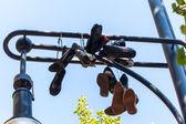 Shoes on a lantern — Foto de Stock