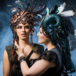 Two beautiful young woman with fairytale headdress — Stock Photo #45468149