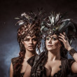 Two beautiful young woman with fairytale headdress — Stock Photo #45468749