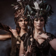 Two beautiful young woman with fairytale headdress — Stock Photo #45468847