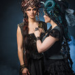Two beautiful young woman with fairytale headdress — Stock Photo #45468953