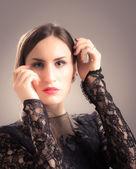 Brunette girl in flamenco style — Stock Photo