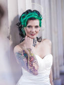 Punk bride on location — Stock Photo
