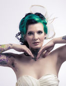 Sexy bride with tattoos — Stock Photo