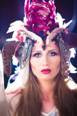 Woman with fairytale headdress — Stock Photo