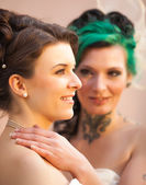 Two brides in love — Stock Photo