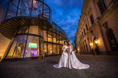 Bridal couple at night — Stock Photo
