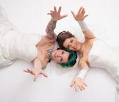 Bridal couple in studio — Stock Photo