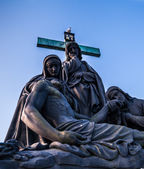 Jesus crucifixion statue at Charles Bridge — Stock Photo