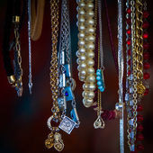 Necklaces at a flea market — Stock Photo