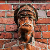 Sculpture  made of red bricks — Stock Photo