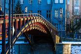 Red footbridge — Stock Photo