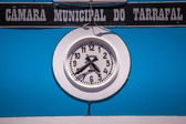 Clock on the Municipal building — Stock Photo