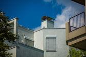 Modern house with angular walls — Stock Photo