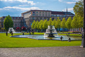 Ornamental fountains in a formal park — Stock Photo