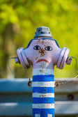 Funny decorated fire hydran — Stock Photo
