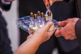 Palette of phials with soap bubble liquid — Stock Photo