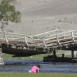 Stock Photo: Old bridge in Khovd province in Mongolia