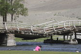 Old bridge in Khovd province in Mongolia — Foto Stock